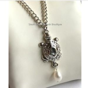 """Jewelry - Silver Pearl Sea Life Turtle Necklace 18"""" Nautical"""
